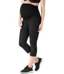 women's belly bandit activesupport power capri maternity leggings, size small - black