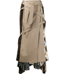 rokh hybrid trench skirt - brown