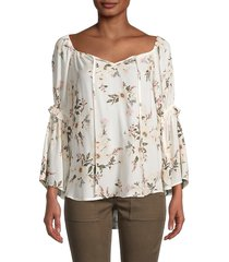 chenault women's floral high-low top - ivory blush - size s