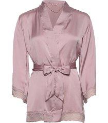 petite kimono satin meili morgonrock rosa hunkemöller