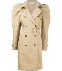 redvalentino puff-sleeve midi trench coat - neutro