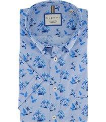 bugatti overhemd korte mouwen blauw bloemen