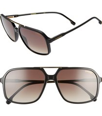 carrera eyewear 59mm polarized aviator sunglasses in black/brown at nordstrom