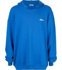 we11done distressed collar hoodie - blue