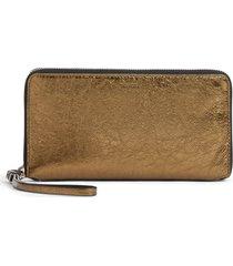 allsaints fetch leather phone wristlet - metallic