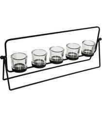 świecznik szklany 5 szt. na tealighty monte black