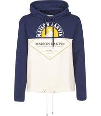 lanvin logo printed hoodie