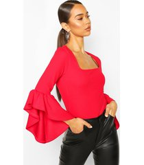 crepe flared sleeve square neck top, red