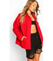 oversized jean jacket, red
