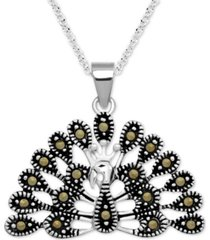"marcasite peacock 18"" pendant necklace in fine silver-plate"