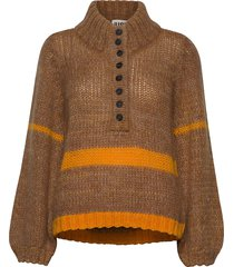 dolly high neck knit turtleneck polotröja brun just female