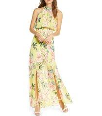 women's eliza j floral popover chiffon maxi dress