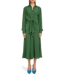 women's victoria beckham tie waist long sleeve silk crepe de chine midi shirtdress