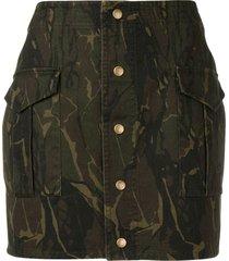 saint laurent fitted camo print skirt - green