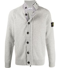 stone island button-up cardigan - grey