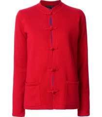 shanghai tang chinoiserie tang-style cardigan - red