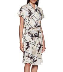 leonce floral silk wrap dress