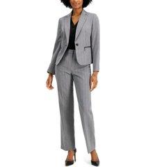 le suit petite zippered-pocket pantsuit