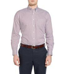 men's big & tall nordstrom men's shop smartcare(tm) traditional fit stretch stripe dress shirt, size 19 - 36/37 - burgundy