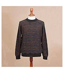 men's 100% alpaca pullover, 'warm waves' (peru)