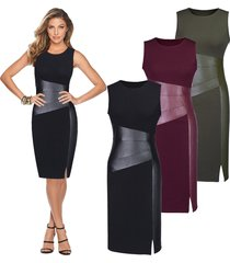 women's sexy slim fit sleeveless high split pu leather pencil knee-length dress