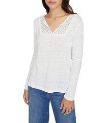 women's sanctuary lora crochet lace neck t-shirt, size xx-small - white