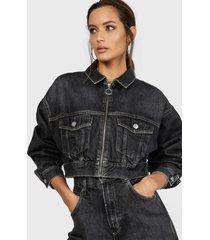 chaqueta dua lipa x pepe jeans negro - calce holgado