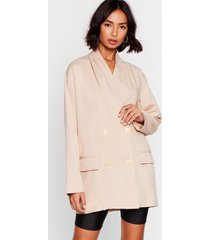 womens business minded double breasted longline blazer - stone