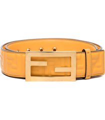 fendi baguette embossed logo belt - yellow