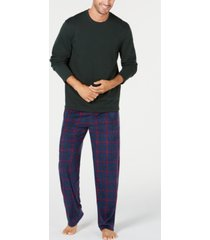 club room men's plaid fleece pajama set, created for macy's