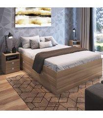 quarto completo casal 2 portas 2 gavetas cj044 montana - art in móveis