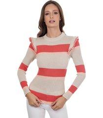 blusa myah antonieta coral em tricô