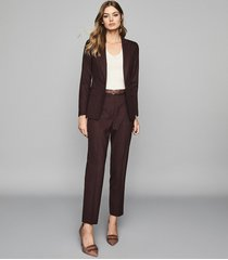 reiss lissia trouser - textured tailored trousers in berry, womens, size 12