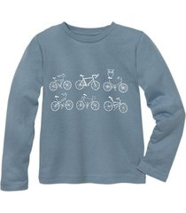 shirt met lange mouw fiets, jeansblauw 98/104