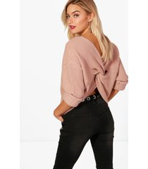 crop twist sweater, nude