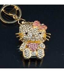 white and pink hello kitty rhinestone swarovski crystal charm purse key chain