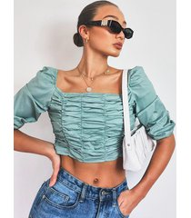 woven ruched front square neck crop top, sage