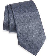 men's ermenegildo zegna herringbone silk tie, size one size - blue
