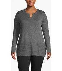 lane bryant women's notch-neck sweater with pointelle hem 18/20 thunder grey heather