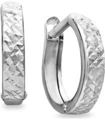 10k white gold earrings, diamond cut hinged hoop earrings