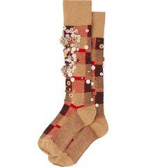 miu miu sequin-embellished wool socks - brown