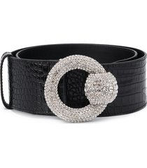 alessandra rich embossed-croc effect belt - black