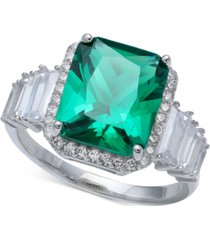 green cubic zirconia emerald cut, baguette, & pave ring (7-7/8 ct. t.w.) in sterling silver