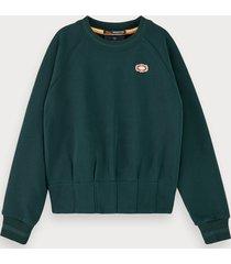 scotch & soda pleated waist crew neck sweatshirt