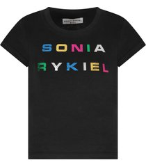 sonia rykiel black t-shirt for girl with colorful logo