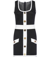 balmain buttoned viscose knit mini dress