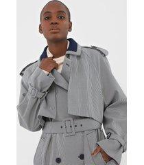 casaco trench coat lacoste pied de poule azul-marinho - azul marinho - feminino - poliã©ster - dafiti