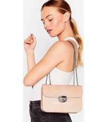 womens want hey croc's up faux leather shoulder bag - nude