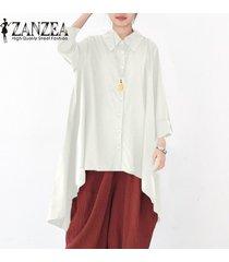 zanzea botones de manga larga para mujer camisa casual tops blusa asimétrica de solapa plus -blanquecino