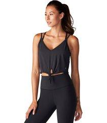 tavi noir women's tie front yoga tank top - ebony x-large spandex